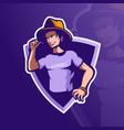 cool man mascot logo vector image vector image
