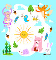 cute animal forest set vector image vector image