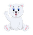 cute cartoon polar bear waving his hand vector image