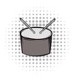 Drum grey black comics icon vector image