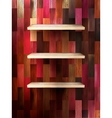 Empty shelf for exhibit on color wood EPS 10 vector image vector image