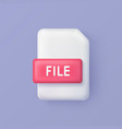 file or document 3d icon on background vector image