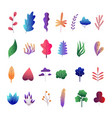 flat abstract colorful leaves set vector image