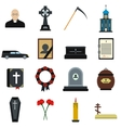 Funeral and burial flat icons vector image vector image