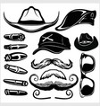 gangster set - hats glasses cigar black isolated vector image vector image