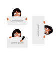 girl and blank paper for web site mobile app vector image vector image