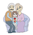 girl getting gift from her grandparents vector image vector image