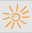 Hand drawn sun icon on isolated background