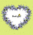 hand drawn vintage floral heart shaped frame vector image