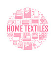 home textiles circle template with flat line icons vector image vector image