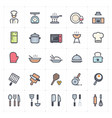 icon set - kitchen utensils and cooking full color vector image vector image