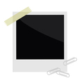 Isolated instant photo with tape and paperclips vector image vector image