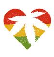 Marijuana silhouette in heart shape marijuana leaf vector image