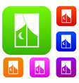nightly window set color collection vector image vector image