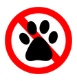 No Dog paw sign icon vector image vector image