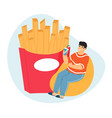 obese man overeating leading to obesity fat man vector image