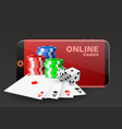 online casino concept playing cards dice chips vector image vector image