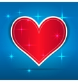 Red Paper Heart on blue background vector image vector image