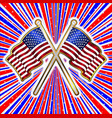 red white and blue rays background with stars and vector image vector image