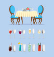 restaurant table and glassware with cocktails vector image