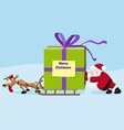 Santa with deer move a heavy gift vector image vector image