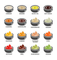 sauce icon set vector image vector image
