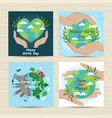 set of cards for mother earth day vector image