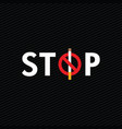 stop smoking icon on dark background vector image vector image