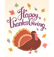 thanksgiving with brown turkey bird and text vector image vector image