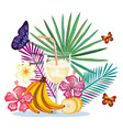 tropical cocktail with banana fruit and decoration vector image
