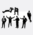 Useful businessman action silhouettes vector image vector image