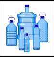 water bottles set of various size on white vector image vector image