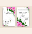 watercolor wedding invitation card with pink roses vector image vector image