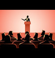 woman giving a speech on stage vector image