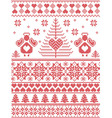 Xmas nordic tall pattern with angels vector image vector image