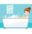 young woman bathing in bathtub in bathroom vector image vector image