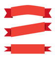 three red ribbon banner on white background red vector image