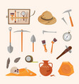 archaeological tools and finds set brushes vector image