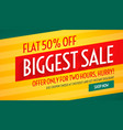 biggest sale offers and discount banner template vector image vector image