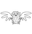 black and white cute frightned cartoon bird charac vector image