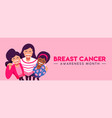 breast cancer awareness banner of friend group hug vector image vector image