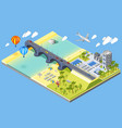 bridge and beach vector image vector image