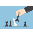 Businessman hand use black queen checkmate vector image
