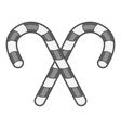 Candy canes icon black monochrome style vector image vector image
