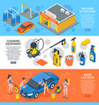 car wash isometric banners set vector image vector image