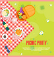 cartoon summer picnic in park basket card vector image vector image
