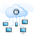 Cloud computing - gadget connected to cloud vector image vector image