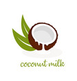 coconut milk on white vector image vector image