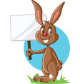 cute bunny holding advertising sign vector image vector image