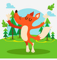 cute fox in forest vector image vector image